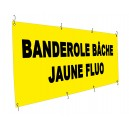 Banderole b&acirc;che jaune fluo 135g - Utilisation courte dur&eacute;e