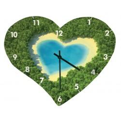 Horloge murale en verre lisse, en forme de coeur, Taille 245 x 200 mm