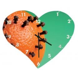 Horloge murale en verre surface structurée, en forme de coeur, Taille 355 x 285 mm