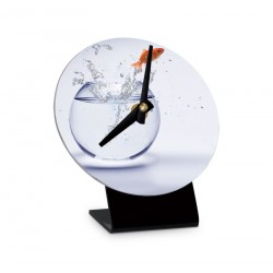 Horloge de table Ø 120 mm, Blanc brillant