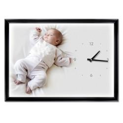 Horloge murale maxi 406 x 295 mm, Couleur du cadre Noir