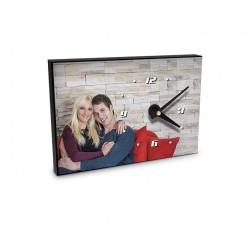 Horloge de table en MDF Blanc brillant, 200 x 140 mm, Couleur du cadre Noir