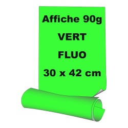 Affiches 30 x 42 cm (A3) - papier 90 g offset fluo vert - 100 ex