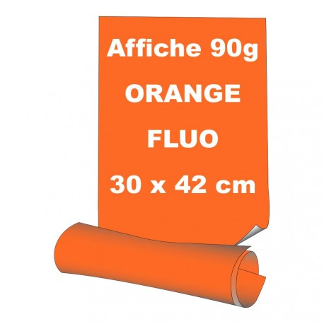 Affiches 30 x 42 cm (A3) - papier 90 g offset  fluo orange - 15 ex
