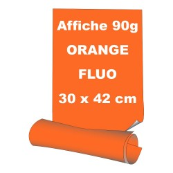 Affiches 30 x 42 cm (A3) - papier 90 g offset  fluo orange - 100 ex