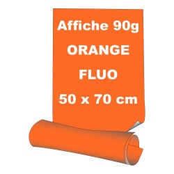 Affiches 50 x 70 cm - papier 90 g offset  fluo orange - 5 ex