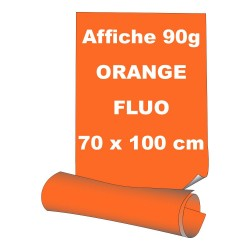 Affiches 70 x 100 cm - papier 90 g offset  fluo orange - 5 ex