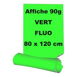 Affiches 80 x 120 cm (A0) - papier 90 g offset  fluo vert - 65 ex