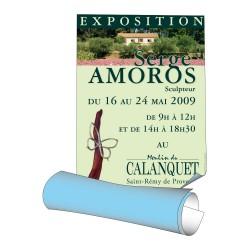 Affiches 89,5 x 128 cm - papier 115 g offset blanc (dos bleu) - 100 ex