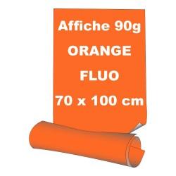 Affiches 70 x 100 cm - papier 90 g offset  fluo orange - 5 ex
